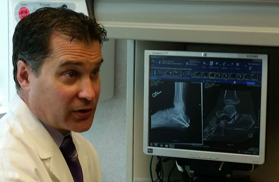 Dr. Michael Schnaubelt reviews Josh Toneys' X-rays.