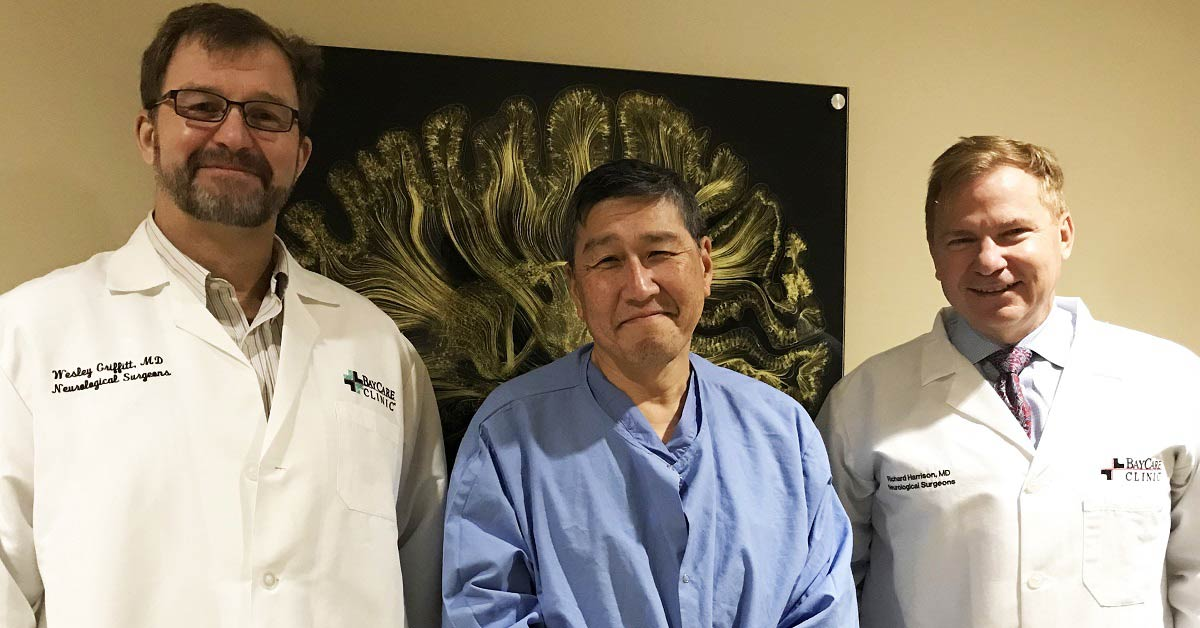 Neurological surgeonds Wesley Griffit, Paul Baek, and Richard Harrison all served in the armed forces.
