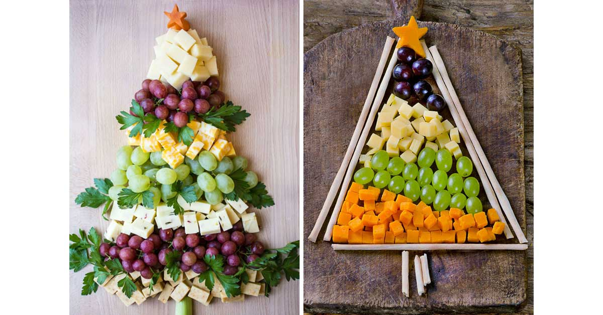 Cheese and fruit Christmas tree treat