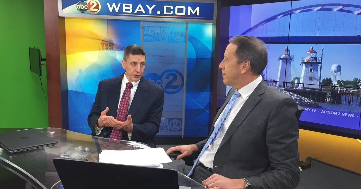 Dr. William Witmer of Aurora BayCare Cardiology chats with WBAY Channel 2 News anchor Kevin Rompa