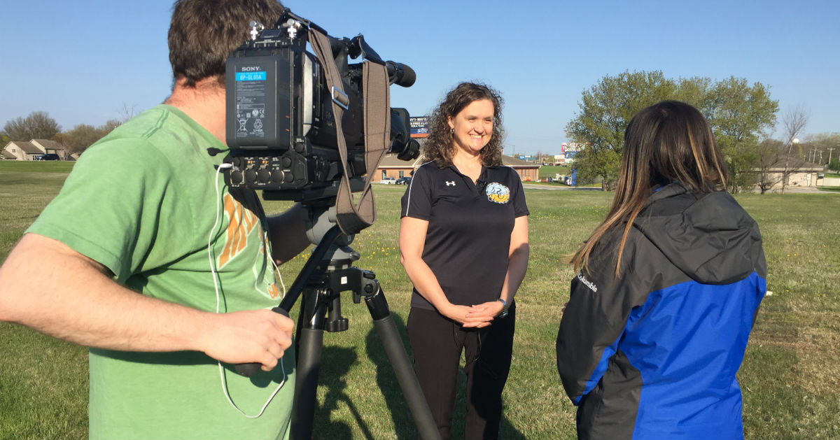 Ann Seidl, ride director, BayCare Clinic Century, is interviewed by NBC 26 News
