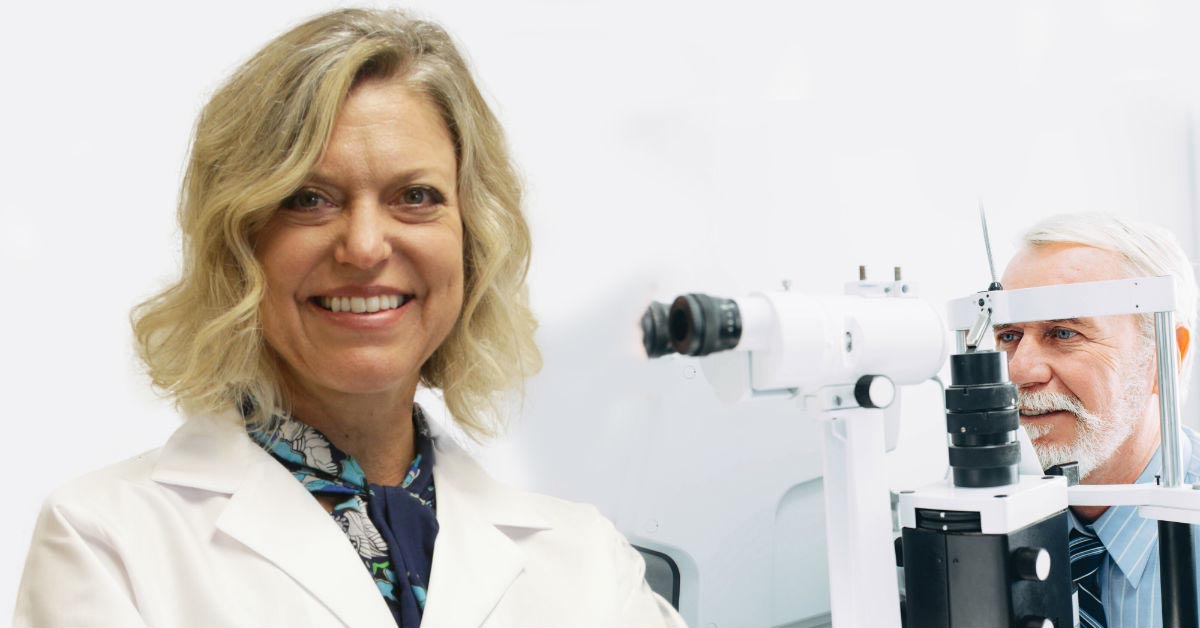 Dr. Kara H. Harbick, a fellowship-trained glaucoma specialist, poses for a photo at BayCare Clinic Eye Specialists in Green Bay, Wisconsin.