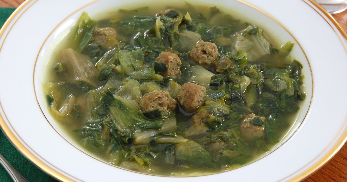 A bowl of Italian wedding soup.